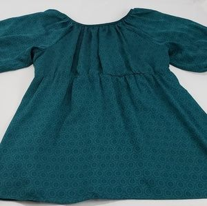 🔥Anthropologie Odille Teal Flowy Shirt Dress
